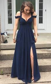 navy prom dress with slit skirt graduation dresses formal dress