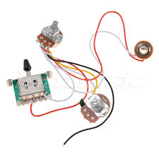 3 pickup guitar wiring harness prewired with 500k pots 5 way 1