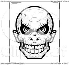 clipart of a halftone black and white goblin skull poster design