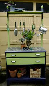 repurposed dresser to chevron kitchen buffet with butcher block top repurposed dresser to garden potting bench jarden designs