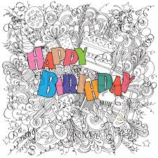 Doodle Birthday Card Happy Birthday Greeting Card On White Background With Celebration