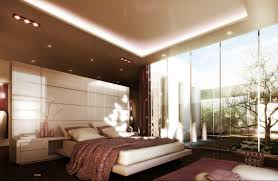 futuristic lamp interior bedroom design with white bed on the