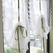 Tie Up Curtains Embroidery Sheer Pull Up Curtain
