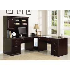 Black Corner Desk With Hutch Furniture Fascinating Lshaped Office Desk With Hutch Featuring