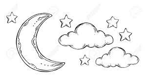 hand drawn vector elements good night sleeping moon stars