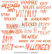 scary halloween status quotes wishes sayings greetings images halloween lettering phrases overlay set scary stock vector