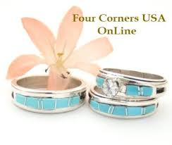 American Wedding Rings by Turquoise Bridal Engagement Ring Sets Navajo Wedding Rings