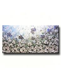 Poppy Home Decor by Art Original Abstract White Flowers Painting White Poppies Textured Palette Knife Modern Artwork Light Blue Green Metallic Silver Poppy Wall Art Large