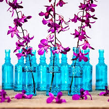 Blue Vases For Wedding Luna Bazaar Small Vintage Glass Bottle Set 6 5 Inch Cylinder