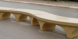 Curved Outdoor Benches Geoform Stonelements Curved Bench With Block Legs In Natural Stone