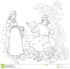 jesus and the samaritan woman at the well stock vector image