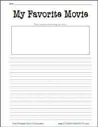 k 2 my favorite movie free printable writing prompt worksheet
