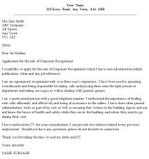 receptionist cover letter corporate receptionist cover letter exle icover org uk