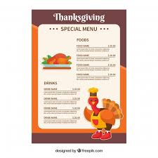 thanksgiving menu template vector free