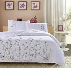 traditional white embroidered three pcs bedding sets high quality 100 cotton duvet cover 2pillowcases