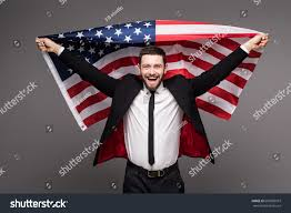 Flag Suit Business Man Suit Holding Usa Flag Stock Photo 607858919