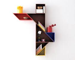Wooden Bookshelves Designs by Daniele Lago Tangram Sgustok Design