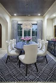 Dining Room Ceiling Designs Cream Colored Dining Room With Grey Rug Curtains And Ceiling