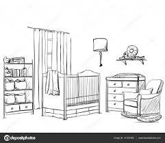 sketch room hand drawn children room furniture sketch u2014 stock vector