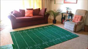 how to make a super bowl football field area rug diy youtube