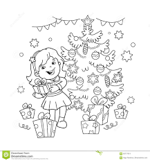 coloring page outline of cartoon with gift at christmas tree
