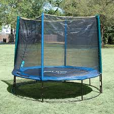 shop pure fun 8 ft round blue backyard trampoline with enclosure
