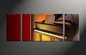 Musical Home Decor by 3 Piece Music Brown Piano Huge Canvas Art