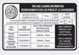 hyundai santa fe tyre size hyundai santa fe tire and loading information label vehicle