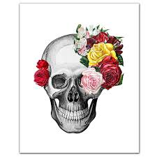 vintage skull and roses print 8 x 10