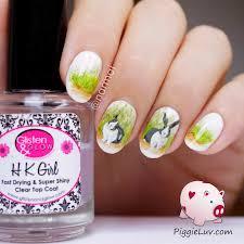 piggieluv freehand dutch rabbit nail art