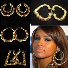 rihanna hoop earrings hot sale rihanna basketball gold tone heart bamboo joint
