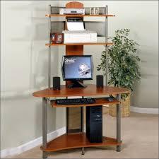furniture black glass computer desk with storage plus white chair