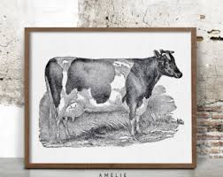French Country Wall Art - french country cow etsy
