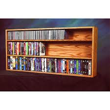 Cd And Dvd Storage Cabinet With Doors Oak Finish The Wood Shed Solid Oak Wall Shelf Mount Cd Dvd Vhs Tape