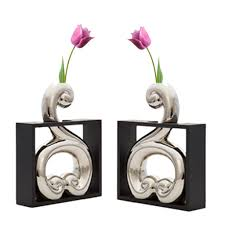 set of 2 swan designer vases