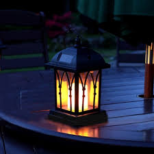 mission style warm white led solar lantern 8 h portable outdoor