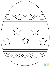 easter egg with simple pattern coloring page free printable