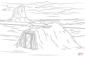navajo hogan in monument valley coloring page free printable