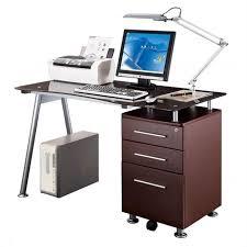 Glass Topped Computer Desk Techni Mobili Tempered Glass Top Computer Desk In Chocolate Rta
