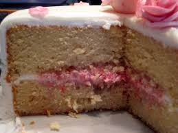white chocolate cake with fresh raspberry filling made in