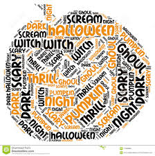 pumpking shape halloween word tag cloud stock photo image 71099966