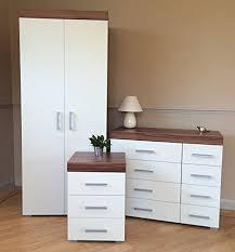walnut and white bedroom furniture white walnut bedroom furniture set wardrobe 4 4 drawer chest 3