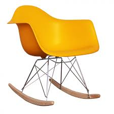 charles ray eames style rar rocking chair yellow