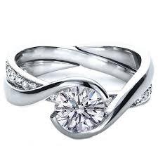 interlocking engagement ring wedding band twisted criss cross pave diamonds engagement ring interlocking