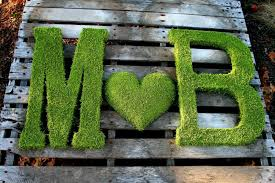 two 24 inch moss letter moss covered monogram letters and heart