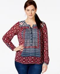 peasant blouse plus size lucky brand plus size mixed print textured peasant blouse tops