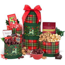 gift towers reindeer gift tower by gourmetgiftbaskets