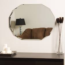 amazon com ascher cut frameless wall mirror home u0026 kitchen