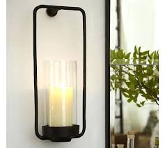 Wall Candle Sconces With Glass Sconce Rectangular Iron Glass Wall Mount Candle Sconce Wall