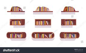set retro bookshelves isolated against white stock vector